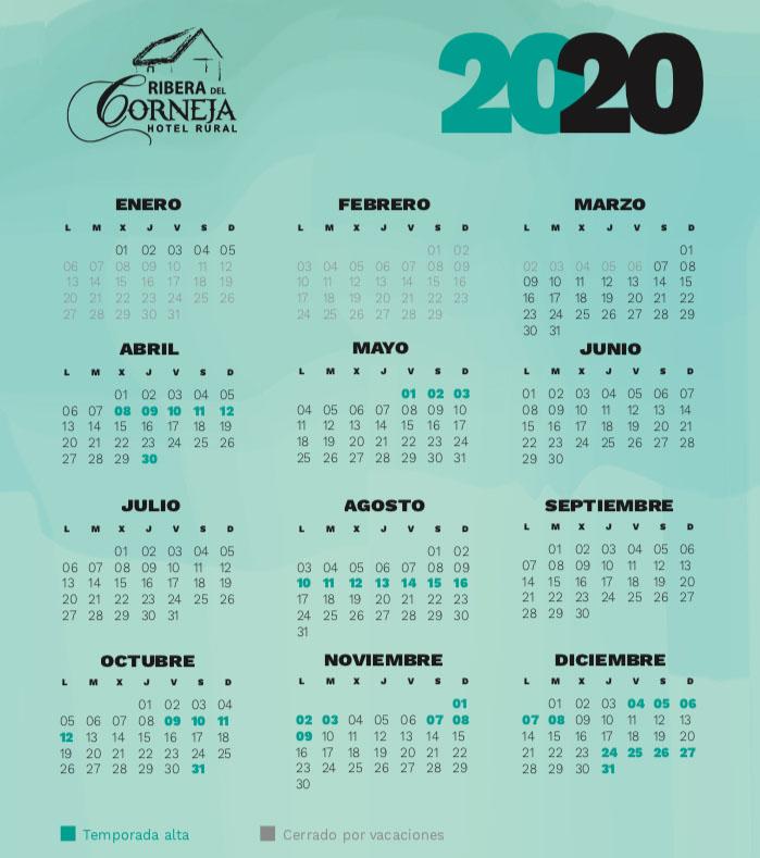 Calendario de temporada Ribera del Corneja 2020